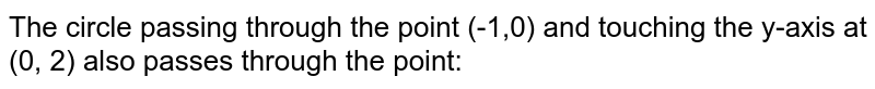 The circle passing through the point (-1,0) and touching the y-axis at (0, 2) also passes through the point: