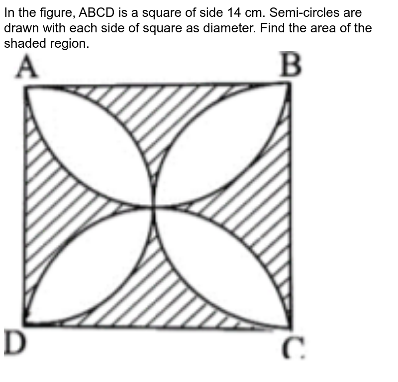 """In the figure, ABCD is a square of side 14 cm. Semi-circles are drawn with each side of square as diameter. Find the area of the shaded region. <br> <img src=""""https://d10lpgp6xz60nq.cloudfront.net/physics_images/CBSE_MAT_S_X_SQP_E01_049_Q01.png"""" width=""""80%"""">"""