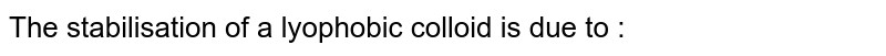 The stabilisation of a lyophobic colloid is due to :