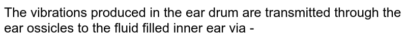 The vibrations produced in the ear drum are transmitted through the ear ossicles to the fluid filled inner ear via -