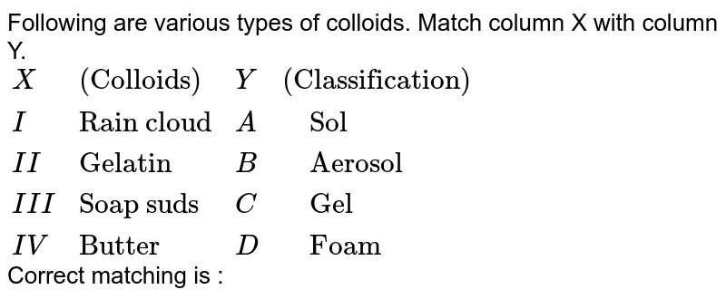 """Following are various types of colloids. Match column X with column Y. <br> `{:(X,""""(Colloids)"""",Y,""""(Classification)""""),(I,""""Rain cloud"""",A,""""  Sol""""),(II,""""Gelatin"""",B,""""  Aerosol""""),(III,""""Soap suds"""",C,""""  Gel""""),(IV,""""Butter"""",D,""""  Foam""""):}` <br> Correct matching is :"""