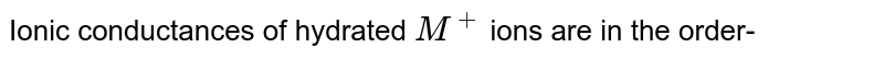 Ionic conductances of hydrated `M^(+)` ions are in the order-
