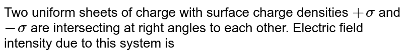 Two uniform sheets of charge with surface charge densities `+sigma` and `-sigma` are intersecting at right angles to each other. Electric field intensity due to this system is