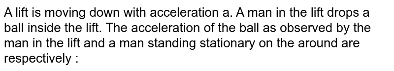 A lift is moving down with acceleration a. A man in the lift drops a ball inside the lift. The acceleration of the ball as observed by the man in the lift and a man standing stationary on the around are respectively :