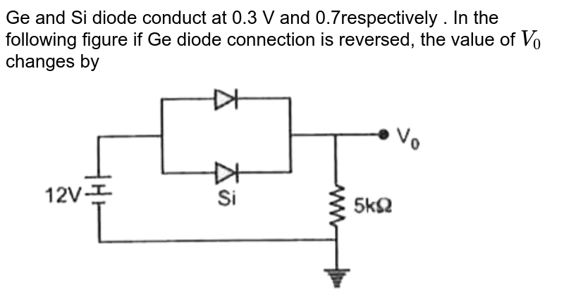 """Ge and Si diode conduct at 0.3 V and 0.7respectively  . In the following figure if Ge diode connection is reversed, the value of `V_0` changes by <br> <img src=""""https://d10lpgp6xz60nq.cloudfront.net/physics_images/MOD_RPA_OBJ_PHY_C23_E01_130_Q01.png"""" width=""""80%"""">"""