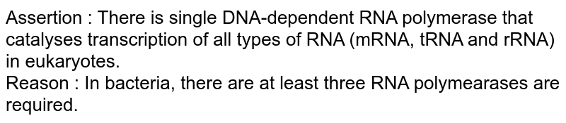 Assertion : There is single DNA-dependent RNA polymerase that catalyses transcription of all types of RNA (mRNA, tRNA and rRNA) in eukaryotes. <br> Reason : In bacteria, there are at least three RNA polymearases are required.