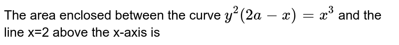 The area enclosed between the curve `y^(2)(2a-x)=x^(3)` and the line x=2 above the x-axis is