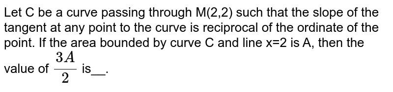 Let C be a curve passing through M(2,2) such that the slope of the tangent at any point to the curve is reciprocal of the ordinate of the point. If the area bounded by curve C and line x=2 is A, then the value of `(3A)/(2)` is__.