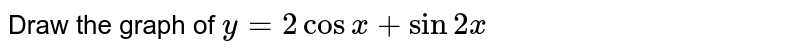 Draw the graph of `y=2cosx + sin2x`