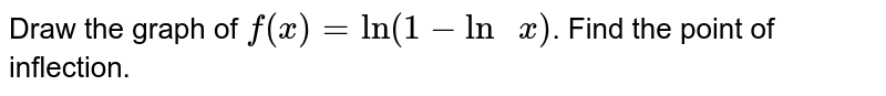 """Draw the graph of `f(x)=""""ln"""" (1-""""ln """"x)`. Find the  point of inflection."""