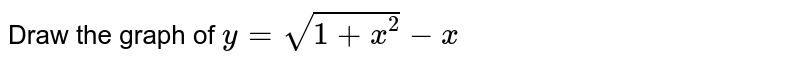 Draw the graph of `y=sqrt(1+x^(2))-x`