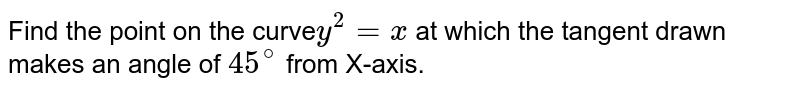 Find the point on the curve` y^(2) = x` at which the tangent drawn makes an angle of `45^(@)` from X-axis.