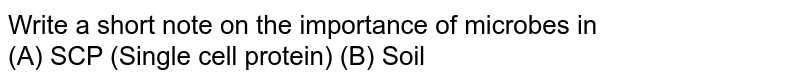 Write a short note on the importance of microbes in <br> (A) SCP (Single cell protein)   (B) Soil