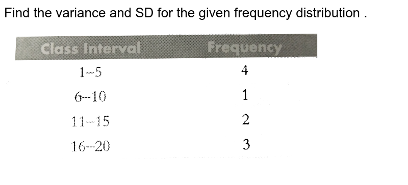 """Find the variance and SD for the given frequency distribution . <br> <img src=""""https://d10lpgp6xz60nq.cloudfront.net/physics_images/PS_MATH_X_C12_E03_005_Q01.png"""" width=""""80%"""">"""