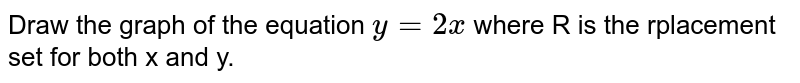 Draw the graph of the equation `y= 2x` where R is the rplacement set for both x and y.