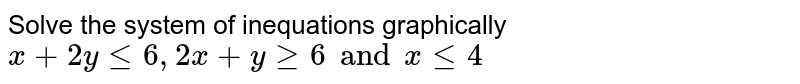 Solve the system of inequations graphically <br> `x + 2y le 6, 2x + y ge 6 and x le 4`