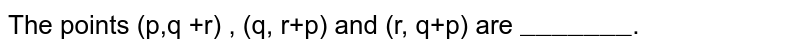 """The points (p,q +r) , (q, r+p) and (r, q+p) are `""""_______""""`."""