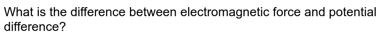 What is the difference between electromagnetic force and potential difference?