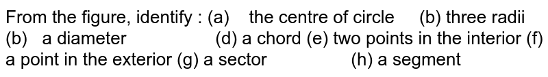 From the   figure, identify : (a) the   centre of circle (b) three radii (b) a   diameter (d) a chord (e) two   points in the interior (f) a point in the exterior (g) a   sector (h) a segment