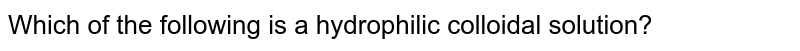 Which of the following is a hydrophilic colloidal solution?