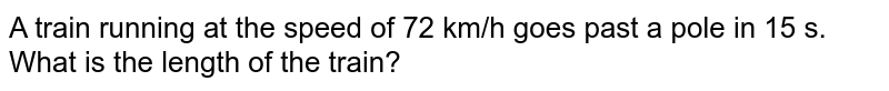 A train running at the speed of 72 km/h goes past a pole in 15 s. What is the length of the train?