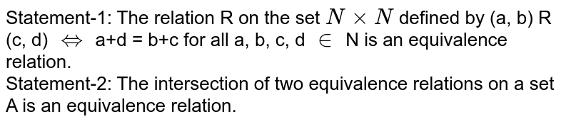Statement-1: The relation R on the set `N xx N` defined by (a, b) R (c, d) `iff` a+d = b+c for all a, b, c, d `in` N is an equivalence relation.  <br>  Statement-2: The intersection of two equivalence relations on a set A is an equivalence relation.