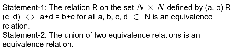 Statement-1: The relation R on the set `N xx N` defined by (a, b) R (c, d) `iff` a+d = b+c for all a, b, c, d `in` N is an equivalence relation.  <br>  Statement-2: The union of two equivalence relations is an equivalence relation.
