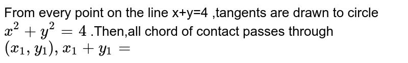 From every point on the line x+y=4 ,tangents are drawn to circle `x^(2)+y^(2)=4` .Then,all chord of contact  passes through `(x_(1),y_(1)),x_(1)+y_(1)=`