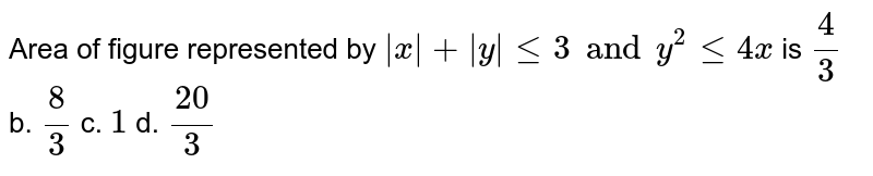 Area of figure  represented by ` x + y  <=3 and y^2 <= 4x` is a.`4/3` b. `8/3` c. `1` d. `(20)/3`