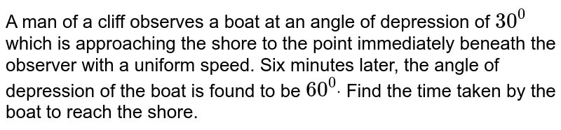 A man of a cliff observes a boat at an angle of depression of `30^0` which is approaching the shore to the point immediately beneath the observer   with a uniform speed. Six minutes later, the angle of depression of the boat   is found to be `60^0dot` Find the time taken by the boat to reach the shore.