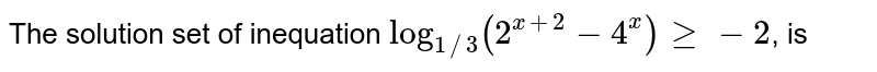The solution set of inequation `log_(1//3)(2^(x+2)-4^(x)) ge-2`, is