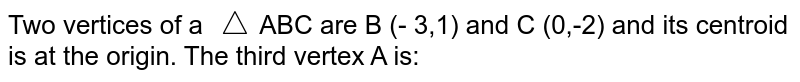 Two vertices of a AABC are B (- 3,1) and C (0,-2) and its centroid is at the origin The third vertex A is femi)