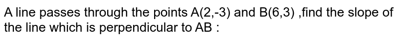 A line passes through the points A(2,-3) and B(6,3) ,find the slope of the line which is perpendicular to AB :