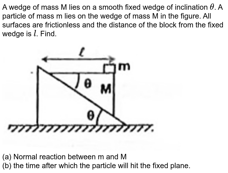 """A wedge of mass M lies on a smooth fixed wedge of inclination `theta`. A particle of mass m lies on the wedge of mass M in the figure. All surfaces are frictionless and the distance of the block from the fixed wedge is `l`. Find. <br> <img src=""""https://d10lpgp6xz60nq.cloudfront.net/physics_images/FIITJEE_PHY_MB_01_C02_SLV_012_Q01.png"""" width=""""80%""""> <br> (a) Normal reaction between m and M <br> (b) the time after which the particle will hit the fixed plane."""