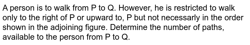 A person is to walk from P to Q. However, he is restricted to walk only to the right of P or upward to, P but not necessarly in the order shown in the adjoining figure. Determine the number of paths, available to the person from P to Q.