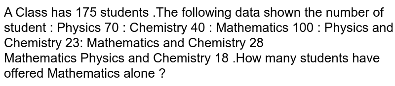 A Class  has 175  students .The following  data shown the  number of student : Physics  70 :  Chemistry  40 :  Mathematics 100 :  Physics  and Chemistry  23: Mathematics and Chemistry 28 <br> Mathematics  Physics and Chemistry  18 .How  many  students  have  offered  Mathematics  alone ?