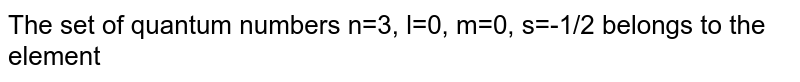The set of quantum numbers n=3, l=0, m=0, s=-1/2 belongs to the element