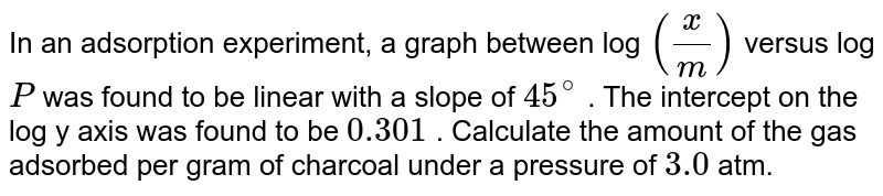 In a adsorption experment, a graph between log (x/m) versus log P was found to be linear with a slope of 45%. The intercept on the y axis was found to be 0.301. Calculate the amount of the gas adsorbed per gram of charcoal under a pressure of 3.0 atm
