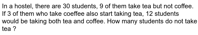 In  a hostel, there are 30 students, 9 of them take tea but not coffee. If 3 of them who take coeffee also start taking tea, 12 students would be taking both tea  and coffee. How many students do not take tea ?