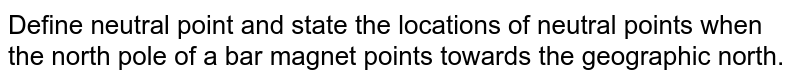 Define neutral point and state the locations of neutral points when the north pole of a bar magnet points towards the geographic north.