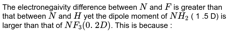 The electronegativity difference between N and F is greater than that between N and H, yet the dipole moment of `NH_(3)` (1.5D) is larger than that of `NF_(3)` (0.2D). This is because