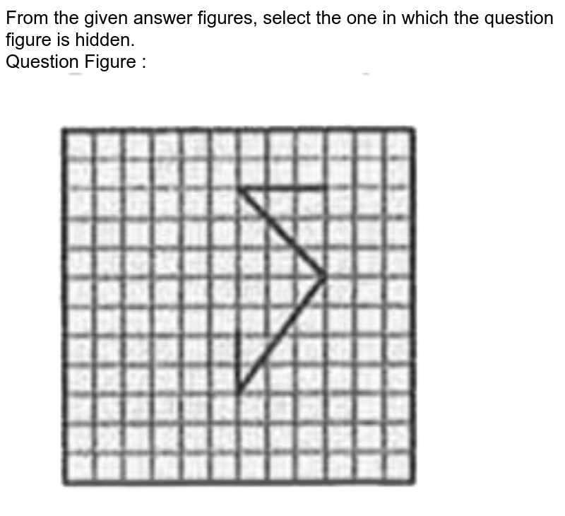 """From the given answer figures, select the one in which the question figure is hidden. <br> Question Figure : <br> <img src=""""https://d10lpgp6xz60nq.cloudfront.net/physics_images/KRN_SSC_CGL_QB_SET_34_E01_022_Q01.png"""" width=""""80%"""">"""