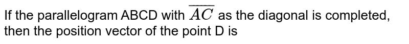If the parallelogram ABCD with `bar(AC)` as the diagonal is completed, then the position  vector of the point D is