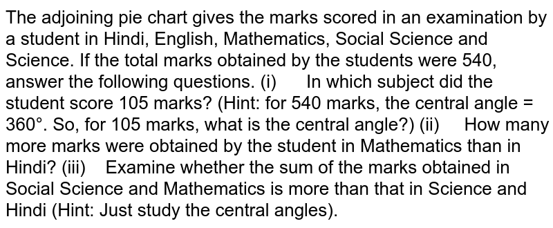 The adjoining pie chart gives the marks scored in an   examination by a student in Hindi, English, Mathematics, Social Science and Science.   If the total marks obtained by the students were 540, answer the following   questions. (i)   In   which subject did the student score 105 marks? (Hint: for 540 marks, the central angle = 360°. So, for 105 marks, what is   the central angle?) (ii)   How   many more marks were obtained by the student in Mathematics than in Hindi? (iii)   Examine   whether the sum of the marks obtained in Social Science and Mathematics is   more than that in Science and Hindi (Hint: Just study the central angles).