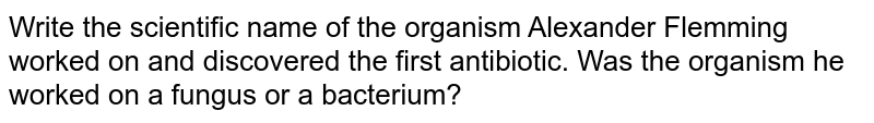 Write the scientific name of the organism Alexander Flemming worked on and discovered the first antibiotic. Was the organism he worked on a fungus or a bacterium?