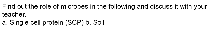 Find out the role of microbes in the following and discuss it with your teacher.  <br> a. Single cell protein (SCP) b. Soil