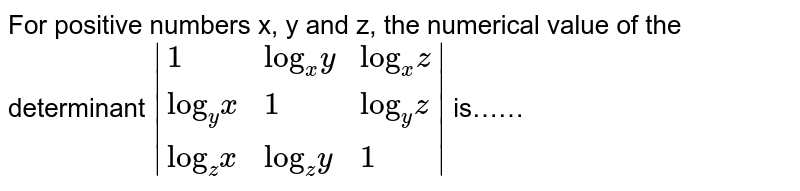 """For positive numbers x, y and z, the numerical value of the determinant `