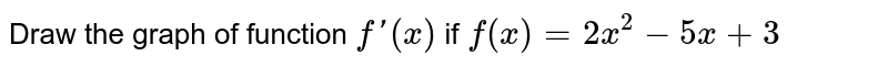 Draw the graph of  function `f'(x)` if `f(x) = 2 x^(2) -5x +3`