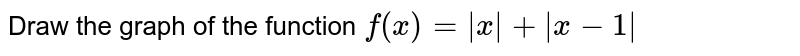 Draw the graph of the function ` f(x) = x +  x+1 `