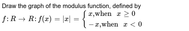 """Draw the graph of the modulus function, defined by <br> `f:RtoR:f(x)=